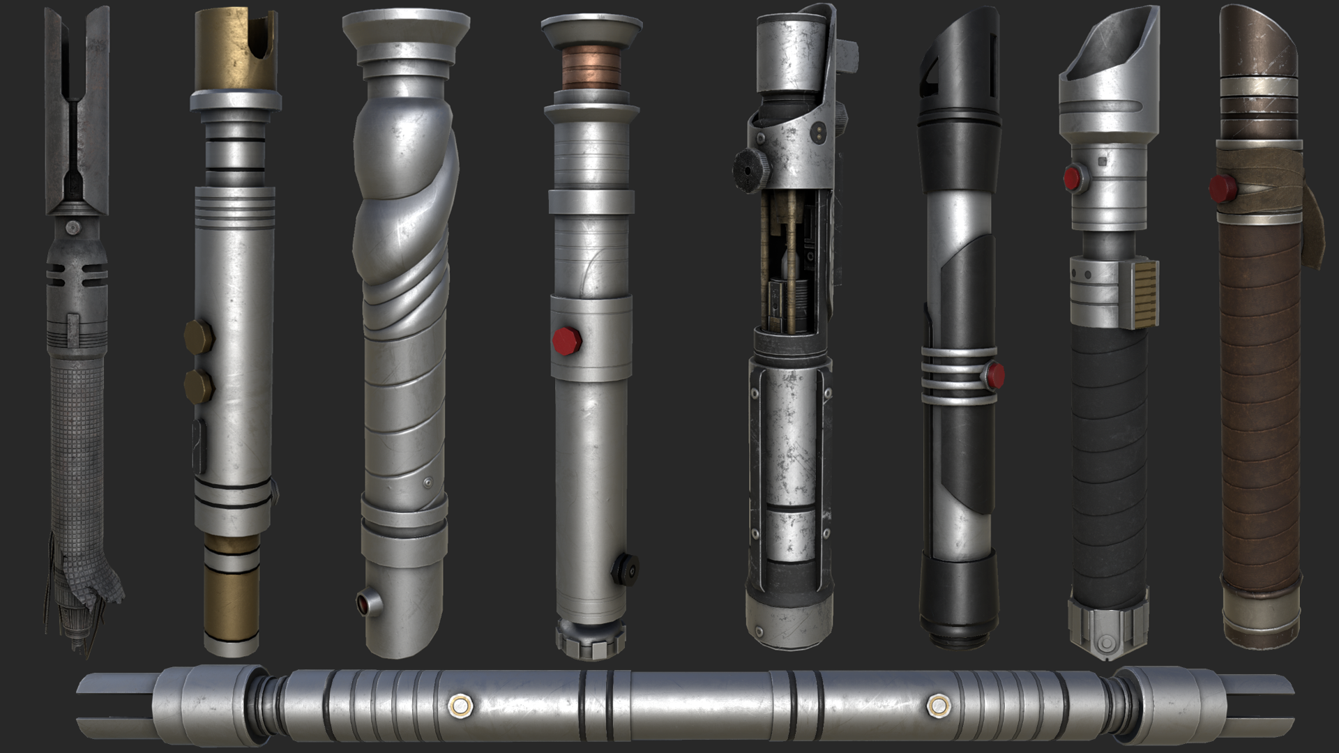 Lightsaber Hilt Collection Lightsabers Melee Jkhub He was a young jedi, he was strong, bold, brave, and he was a god damn wookiee. lightsaber hilt collection