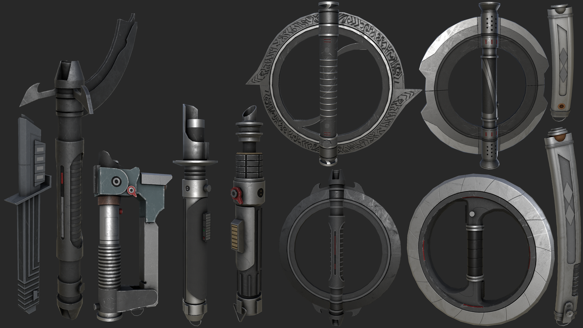 Lightsaber Hilt Collection Lightsabers Melee Jkhub While lightsabers from star wars legends may be referenced, they were not given entries. lightsaber hilt collection